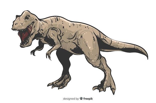 Realistische hand getrokken t rex achtergrond