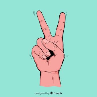 Realistische hand vredesteken achtergrond