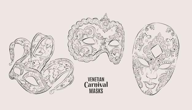 Realistische handgetekende venetiaanse carnaval maskers