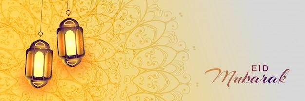 Realistische hangende eid festival islamitische lamp
