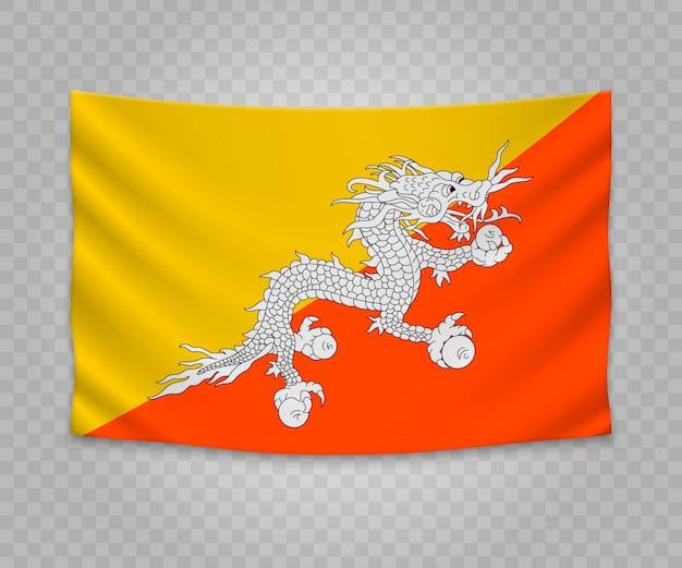 Realistische hangende vlag van bhutan