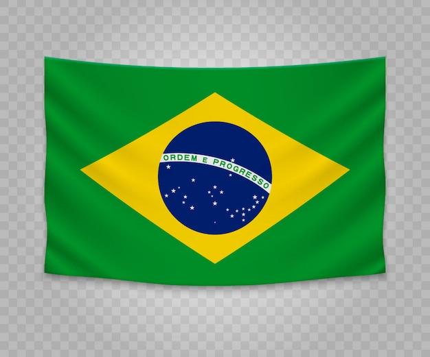 Realistische hangende vlag van brazilië