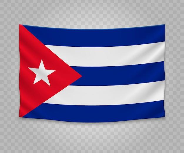 Realistische hangende vlag van cuba