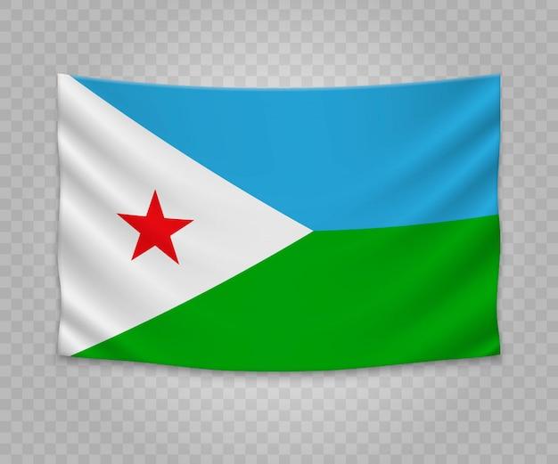 Realistische hangende vlag van djibouti