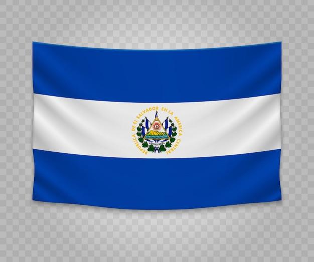 Realistische hangende vlag van el salvador