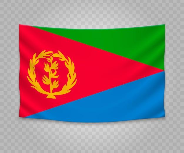 Realistische hangende vlag van eritrea