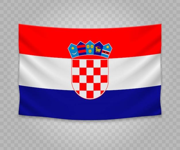 Realistische hangende vlag van kroatië