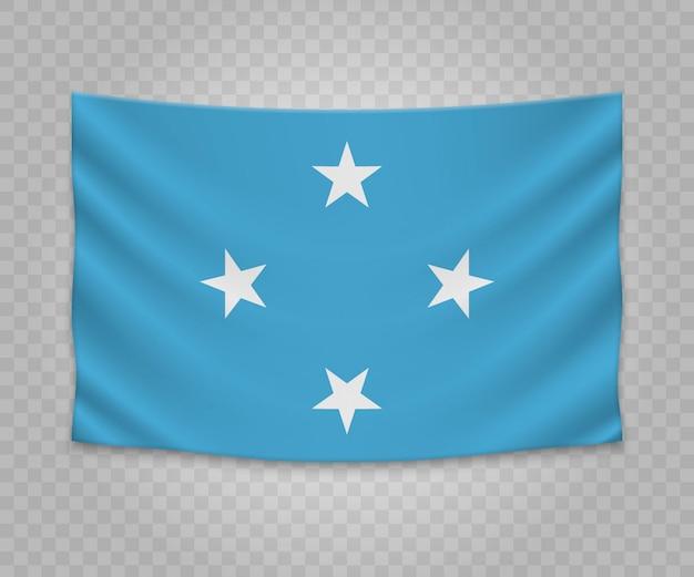 Realistische hangende vlag van micronesië