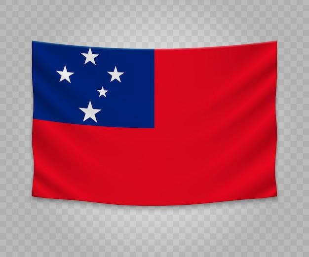 Realistische hangende vlag van samoa