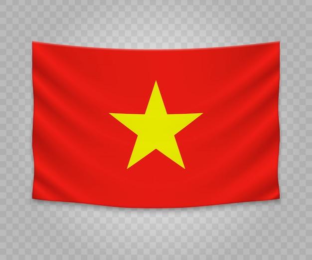 Realistische hangende vlag van vietnam
