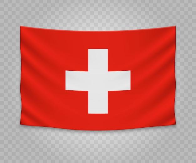 Realistische hangende vlag van zwitserland