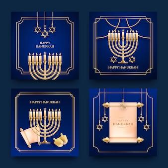 Realistische hanukkah instagram-berichtenverzameling