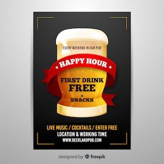 Realistische happy hour poster sjabloon