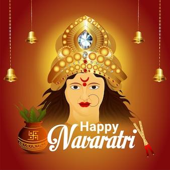 Realistische happy navratri indian festival viering wenskaart