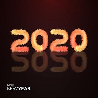 Realistische harige 2020-typografie
