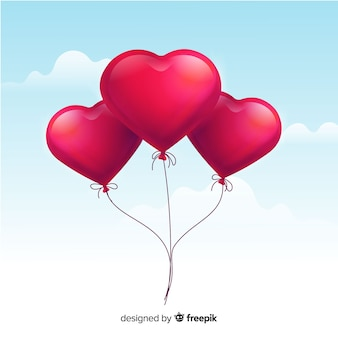 Realistische hart ballonnen achtergrond
