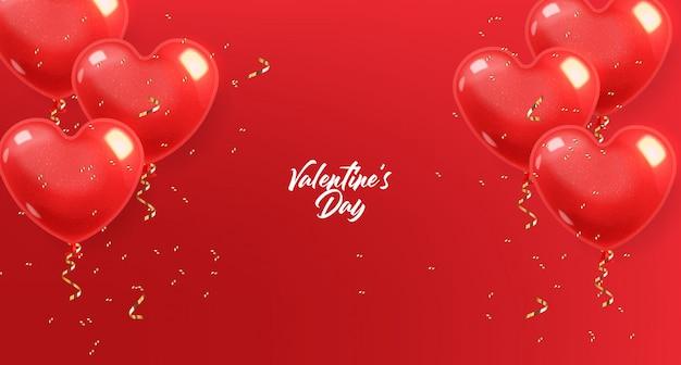 Realistische hart ballonnen en gouden confetti, rood geïsoleerd met rode achtergrond, liefde decoratie, valentijnsdag, romantisch