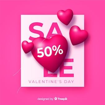 Realistische hart valentijnsdag verkoop achtergrond