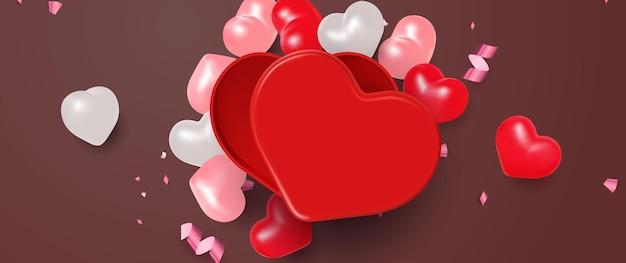 Realistische hartvormige geschenkdoos container illustratie voor valentijnsdag viering evenement