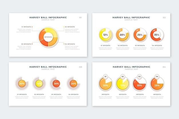 Realistische harvey ball diagrammen infographic collectie