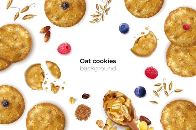 Realistische haverkoekjes frame achtergrond met bewerkbare tekst en geïsoleerde zaden koekjes en bessen