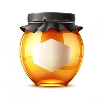 Realistische heerlijke honing en glazen pot met deksel