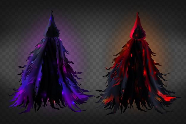 Realistische heks kostuum met capuchon, zwarte rafelige cape met rode en paarse gloed