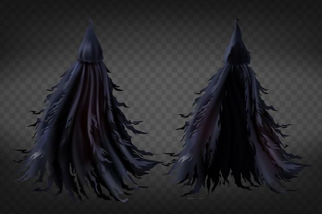 Realistische heks kostuum met capuchon, zwarte rafelige cape voor halloween-feest