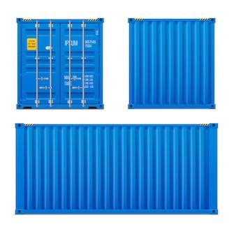 Realistische helderblauwe ladingscontainerset. het concept van transport. gesloten container. voorkant, achterkant en zijkant. realistische vectoren instellen