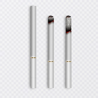 Realistische hele sigaret en set sigaretten met verschillende stadia van verbranding