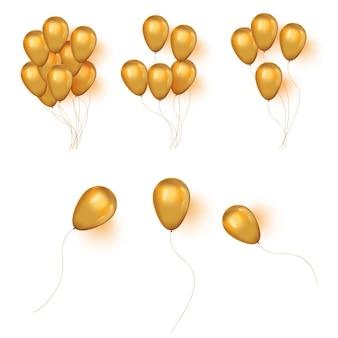 Realistische helium gouden verjaardag bos van ballons.