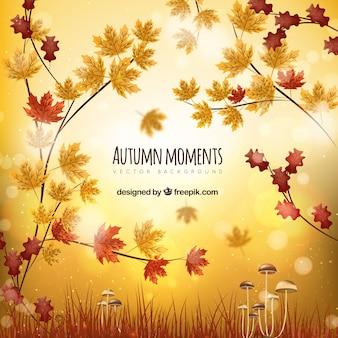 Realistische herfst achtergrond met bladeren en paddestoelen