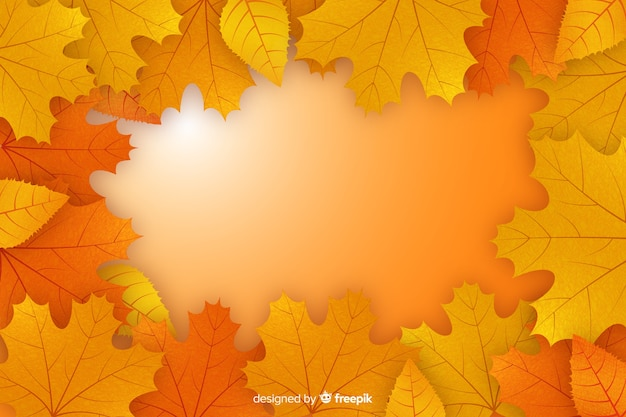 Realistische herfst achtergrond met bladeren