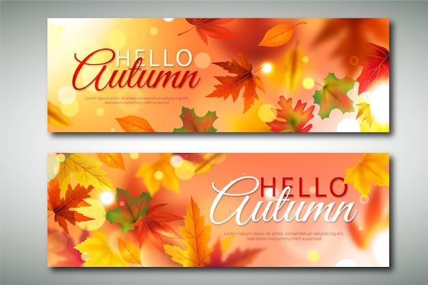 Realistische herfst horizontale banners set