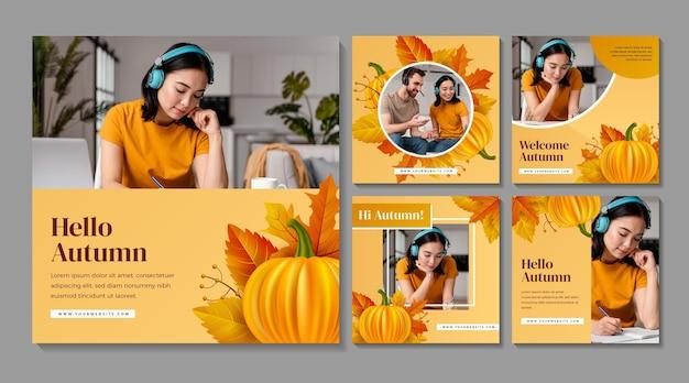 Realistische herfst-instagram-berichtenverzameling met foto
