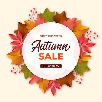 Realistische herfst verkoop banner