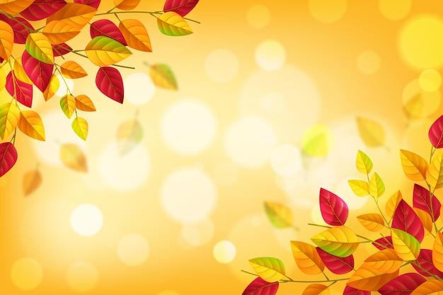 Realistische herfstachtergrond met bladeren