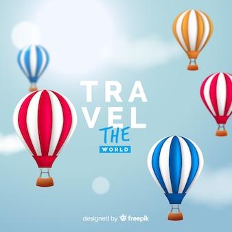 Realistische hete lucht ballonnen reizen achtergrond
