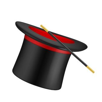 Realistische hoge hoed. tovenaar symbolen hoge hoed en magische toverstaf
