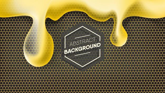 Realistische honingsdaling op zwarte en gele honingraatachtergrond.