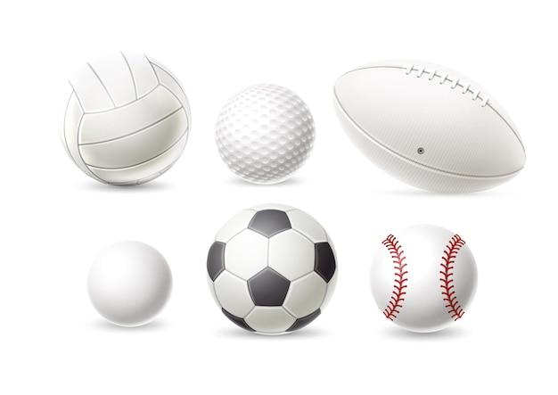 Realistische honkbal golf volleybal rugby voetbal en voetbal bal set atletische uitrusting