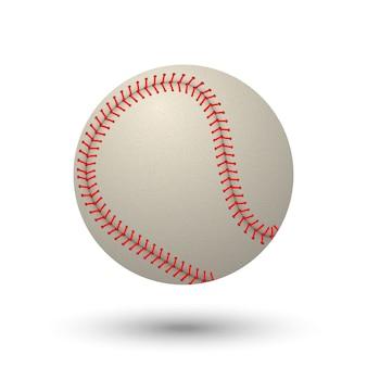 Realistische honkbalbal die op witte achtergrond wordt geïsoleerd.