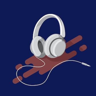 Realistische hoofdtelefoon met geluidsgolf