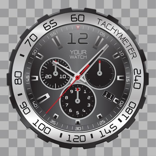 Realistische horloge chronograaf gezicht roestvrij sport op geruit