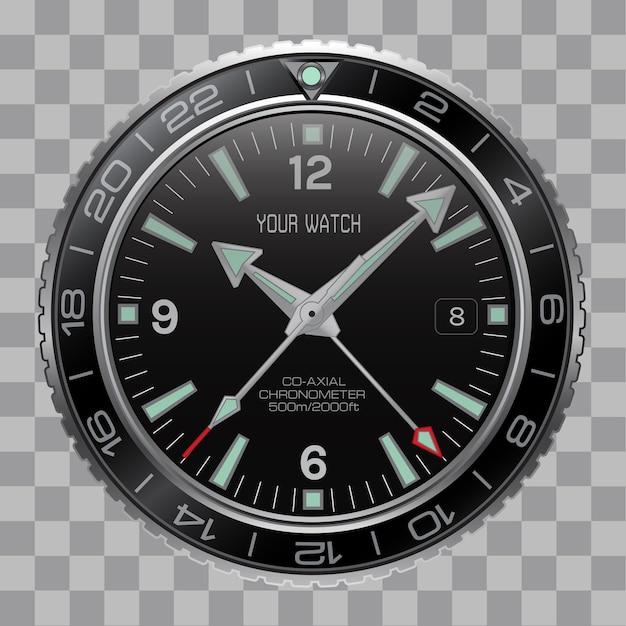 Realistische horloge chronograaf gezicht roestvrij staal op geruit.