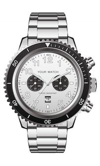 Realistische horloge klok chronograaf roestvrij staal