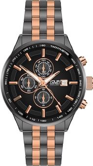 Realistische horloge klok chronograaf staal grijs koper.
