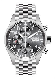 Realistische horloge klok chronograaf stalen witte achtergrond.