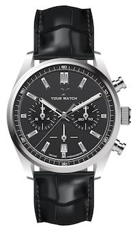 Realistische horloge klok zilver lederen band zwart op wit ontwerp klassieke luxe vectorillustratie.