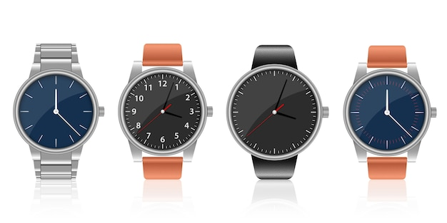 Realistische horloge set ontwerp illustratie op een witte achtergrond